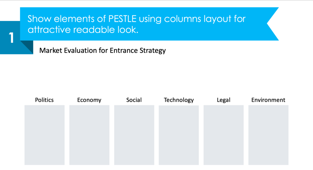 guide on how to redesign PESTLE analysis into a modern table step 1
