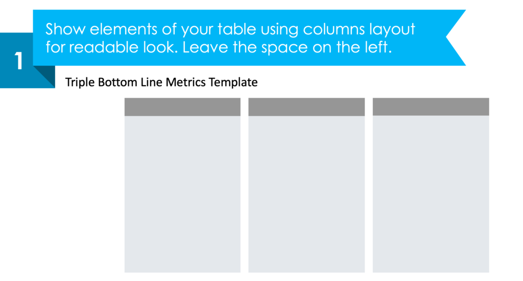 guide on how to visualize Triple Bottom Line Metrics step 1