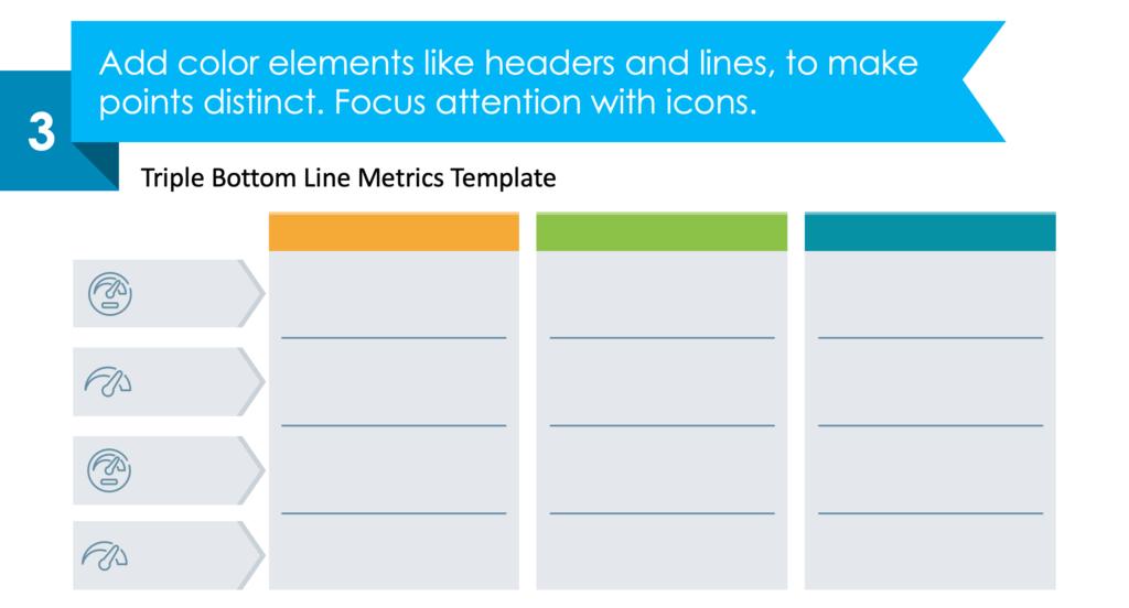 guide on how to visualize Triple Bottom Line Metrics step 3