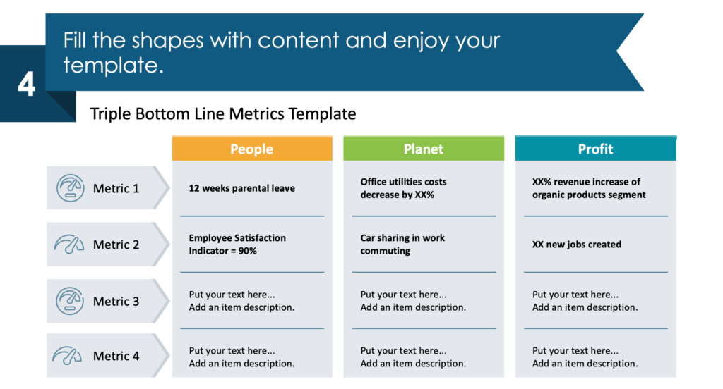 guide on how to visualize Triple Bottom Line Metrics step 4