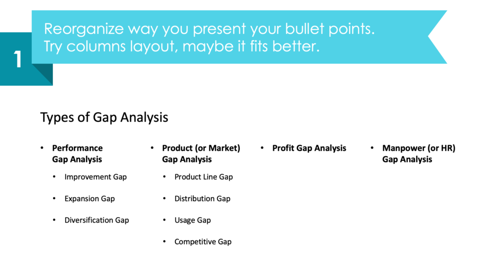 guide on gap analysis types diagram redesign powerpoint step 1