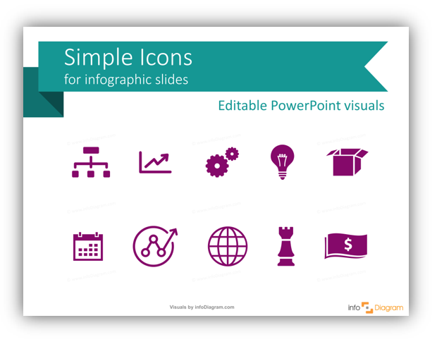 Simple flat icons for infographics presentation
