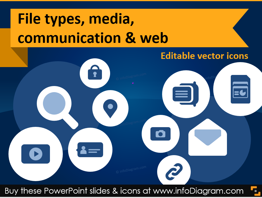 IT Icons for Office Files, Media and Web PPT Charts