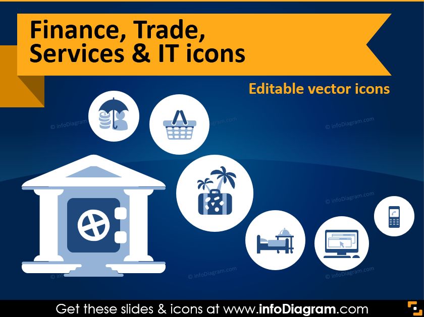 Finance, Trade, IT Service Industries Presented by Icons